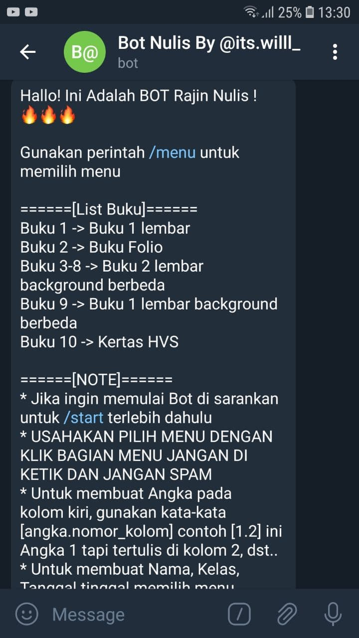 bot nulis telegram by its will